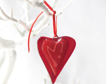 red little love heart | gift idea | birthday gift | handmade fused glass | mother day | love hearts | gift idea | beautiful love heart