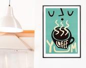 Coffee Print, Coffee Decor, Coffee Lovers Gift, Breakfast Nook Decor, Coffee Poster Big Wall Art Kitchen, Retro Art Coffee Sign, Teal Art
