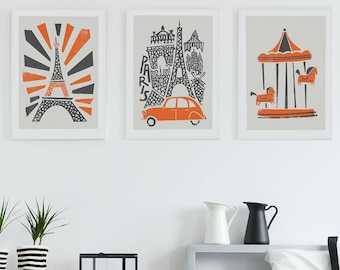 Paris Set Of 3 Prints, Paris City Wall Art, Wife Gift, Poster Paris Cityscape, Paris Bedroom Decor, Paris Gift, Paris Anniversary Gift Idea