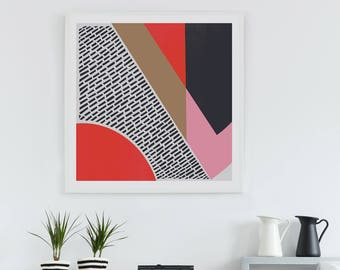 Retro Style Abstract Art Print, Shapes and Colours, Bright Interior Room Decor, Living Room, Housewarming Gift for Art Lovers, Mid Century