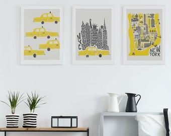 Manhattan NYC Art, Set of 3 Prints, Manhattan Map, Husband Wife Gift, New York Poster Print, City Skyline Art, New York Gallery Wall Decor