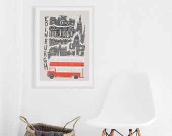 Edinburgh City Print, Scotland Wall Art, Scottish Poster, British Design, Bus Poster, Living Room Wall Art, Gift For Dad, Secret Santa