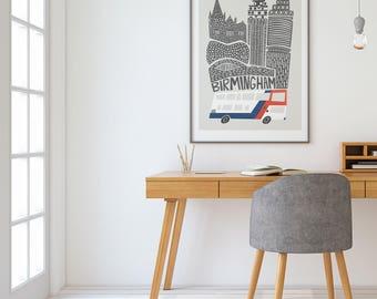 Birmingham UK City Print, Travel Art, Retro Design, Contemporary Living  Room Art, Housewarming Homesick Gift, Travel Memories, Moving Gift