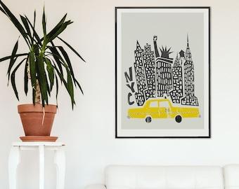 New York City Print, Retro Travel Poster, New York Print, Mid Century Modern, Husband Wife Wedding Gift, Statue of Liberty,  NYC Skyline