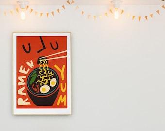 Ramen Kitchen Art, Food Print, Modern Kitchen Decor, Housewarming Gift, Food Lovers, Chef Print, Bar Art, Mid Century Modern Poster, Retro