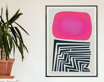 Mid Century Abstract Print, Modern Art, Contemporary Poster, Colour Field, Large Print, Living Room Wall Art, Apartment Decor, Pink Purple