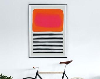 Mid Century Abstract Print, Sunset Art, Living Room Decor, Colour Field, Modernist Modern Art, Colour Field Contemporary Art, Large Wall Art