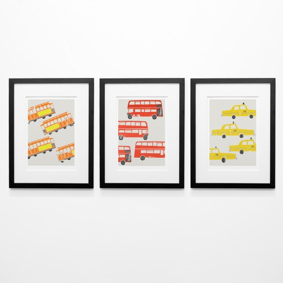 Set Of Three 3 City Prints London Bus Girlfriend Gift