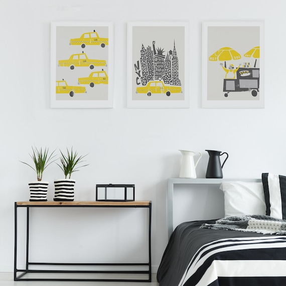 Set Of 3 New York Prints Birthday Gift Wall Art