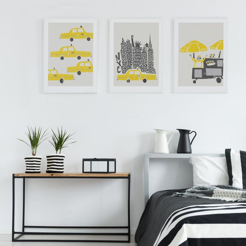 Set Of 3 New York Prints Birthday Gift Wall Art