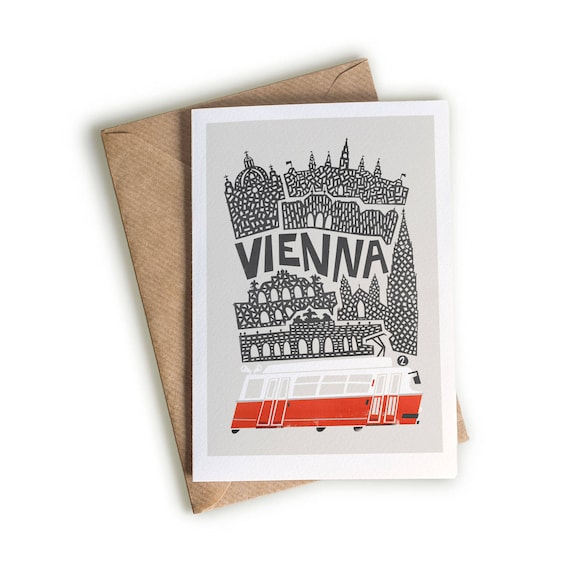 Vienna greeting card blank folded notecard travel cards etsy image 0 m4hsunfo