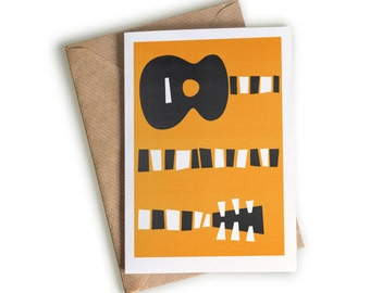 Acoustic Guitar Art Card, Guitar Illustration, Birthday Card, Card For Musician, Mid Century Design, Boyfriend Card, Orange And Black