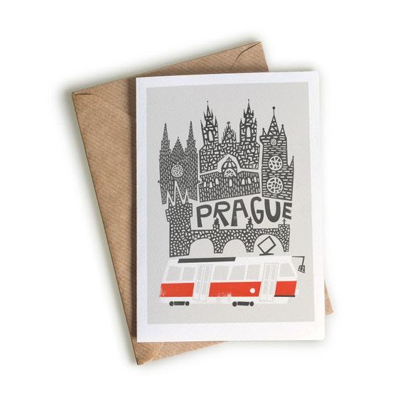 Prague greeting card birthday notecard travel idea leaving etsy image 0 m4hsunfo