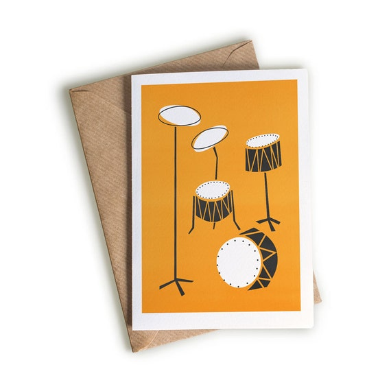 Jazz Drums Greeting Card Gift For Drummer Mid Century Art Etsy