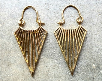 Triangle 3D Illusion Earrings Geometry Burning Man Festival Embroidery