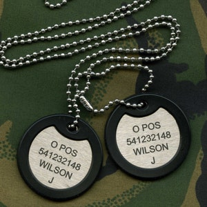 Adonised Aluminum Dog tag style necklace with black rubber Silencer Perfect Customisable Chirstmas Gift