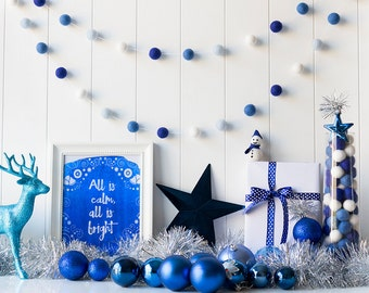 Hanukkah Felt Ball Garland - Blue Christmas Felt Ball Garland - Mantel garland - Christmas Tree Garland