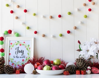 Red and Green Christmas Felt Ball Garland - Classic Christmas Garland - Mantel Garland - Christmas tree decor