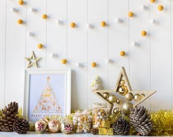 Gold Christmas Felt Ball Garland - Gold Christmas Decoration - Christmas Garland - Mantel Garland - Mustard and White