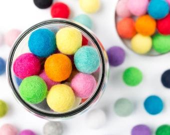 Wool Felt Ball x 100 Multicolour - Felt Pom Poms Mixed Colour - Wool Balls - 2.5cm - 25mm - Wholesale Felt Balls