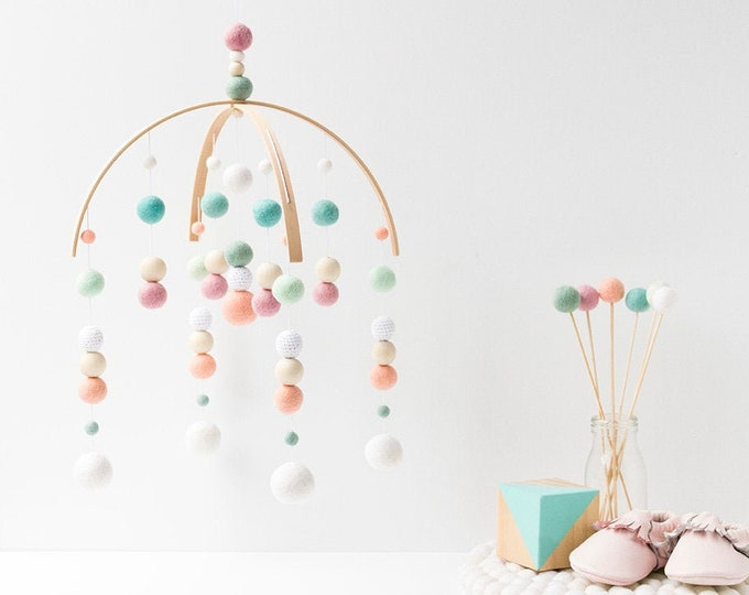 Pastel Baby Mobile Girl - Baby Girl Mobile - Girl Nursery Mobile - Felt Ball Mobile - Pink Peach Mint - Ceiling or Crib Mobile