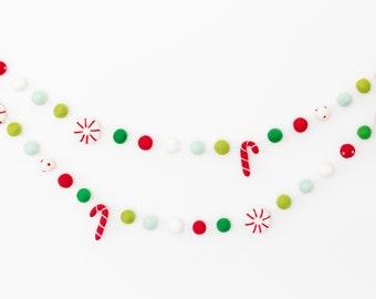 Peppermint Christmas Felt Ball Garland - Red and Green Christmas Garland - Candy Cane Decorations - Mantel garland