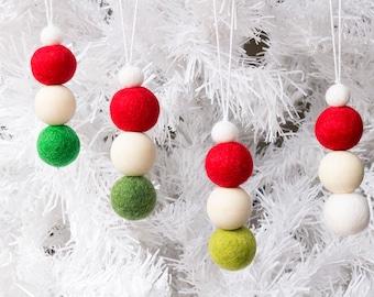 Felt Christmas Ornaments x 8. Red Green White Felt Bead Ornaments Hanging. Felt Ball Ornaments. Pom Pom Ornament. Christmas decor. Xmas Tree