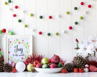 Traditional Christmas Felt Ball Garland - Red and Green Christmas Garland - Mantel Garland - Christmas tree decor