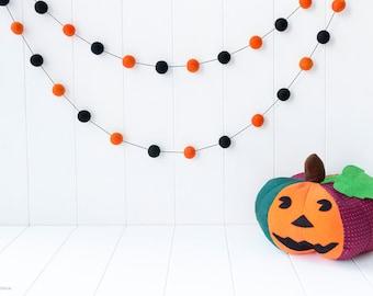 Halloween Felt Ball Garland - Halloween Garland. Halloween decoration - Halloween Party Decor