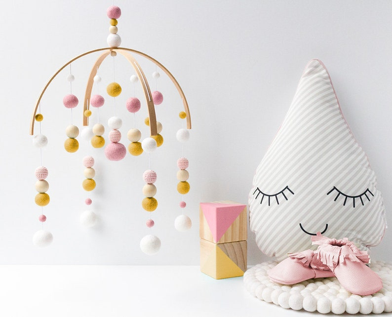 9215c54529ff6 Pink and Mustard Baby Mobile. Girls Baby Crib Mobile. Baby Girl Nursery  Felt Ball Mobile. Change table Pom Pom mobile. Baby Cot Mobile.