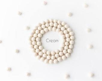 Wool Felt Balls - Felt Pom Poms - Wool Balls - Wool Beads - Cream - DIY Felt Ball Garland - DIY Felt Ball Mobile - DIY Necklace