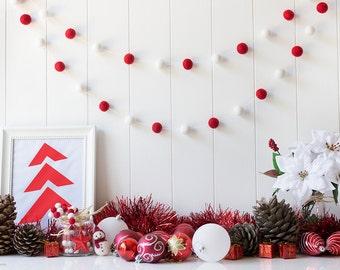 Christmas Felt Ball Garland - Red and White Christmas Tree Garland - Christmas Decoration - Mantel Garland