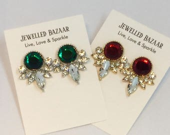 Green and or Red crystal earrings at jewelled bazaar