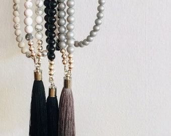 Long Beaded Tassel Necklace. Choose either a black beaded, marble beaded and or a silver beaded long tassel necklace.