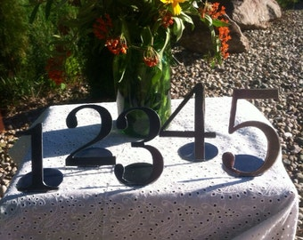 Freestanding Table numbers set of 5 metal