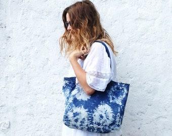 f2fe89505 Indigo Tie Dye Canvas Tote Bag