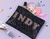 Glitter Purse - Personalised Gift for her - Personalised Make Up Bag - Wedding Gift - Bridesmaid Gift - Custom Handbag