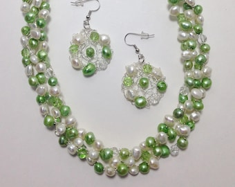 Fern Green and White, Cultured Freshwater Pearls, Faceted Glass, Wire Crochet, Non-Tarnish Silver Plated Wire, Necklace, Earrings