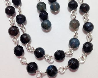 Long Necklace, Black and Blue Agate, Black Czech Fire Polished Faceted Glass, Non Tarnish Silver Plated Wire, Necklace, Earrings