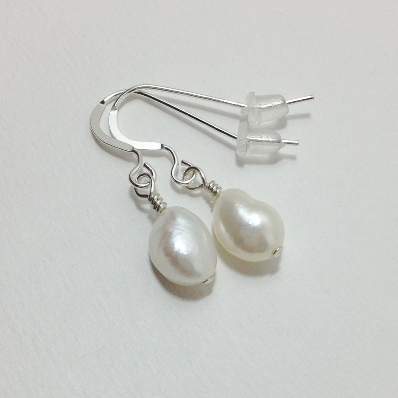 Pearl Drop Sterling Silver Gift for Her White Cultured Freshwater Pearl Earrings Pearl Dangle Teardrop Pearl