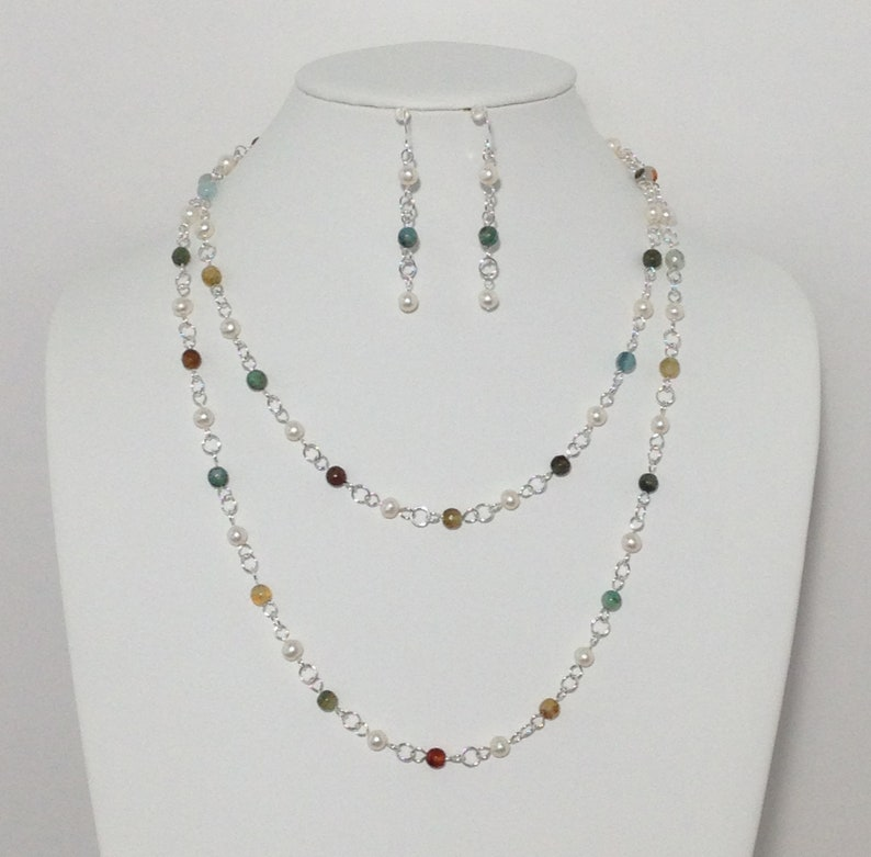 Multi Color Faceted Agate Stone Extra Long Necklace Sterling Silver Wire White Cultured Freshwater Pearl Sterling Silver Earrings