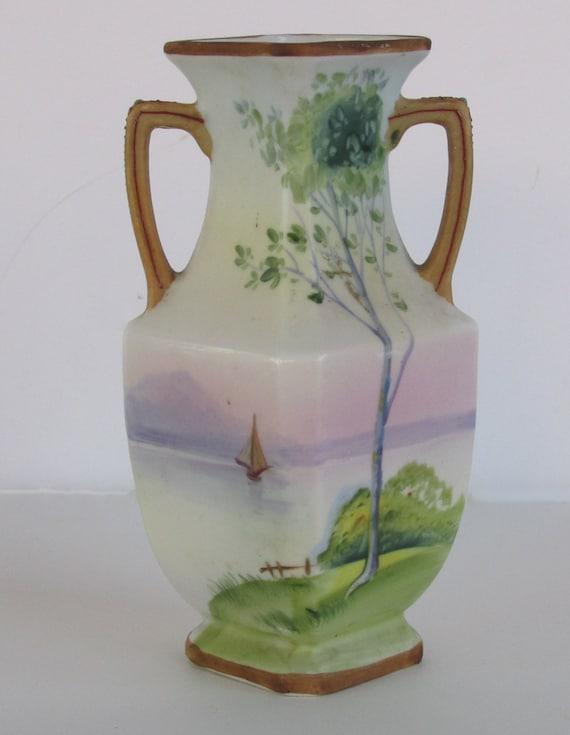 Nippon Porcelain Two Handled Vase Etsy