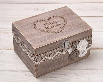Recipe Box Personalized Recipe Card Box Wood Recipe Holder Recipe Storage Housewarming Gift Wedding Shower Decor Mothers Day Christmas Gift