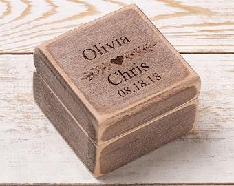 Custom Wedding Ring Box Wooden Ring Box Ring Bearer Box Personalized Wedding Ring Box Wedding Rings Holder Rustic Ring Box Proposal Ring Box