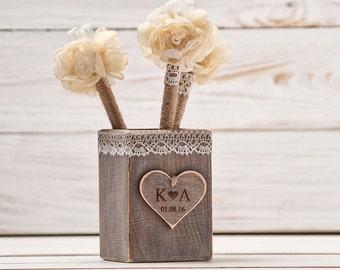 Guest Book Pen Holder Wedding Pen Rustic GuestBook Pens Rustic Holder Burlap Pen Flower Wedding Pen Shabby Chic Pen