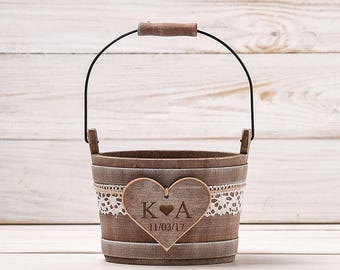 0acdc8d2b7993 Personalized Flower Girl Bag Flower Girl Basket Rustic Wedding Bucket Wedding  Basket Bridal Basket Flower Bucket Flower Girl Pail and Bearer