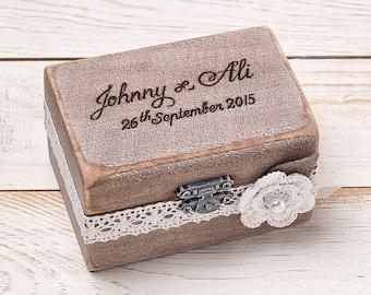 Ring Bearer Box Wedding Ring Box Rustic Wedding Ring Bearer Etsy
