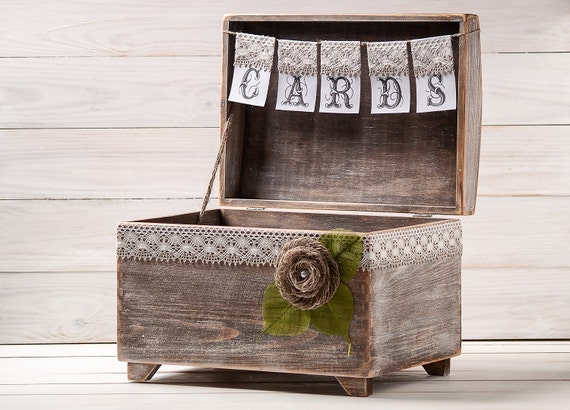 Wedding Gift Card Box Holder: Wedding Card Box Rustic Card Holder With Burlap And Lace