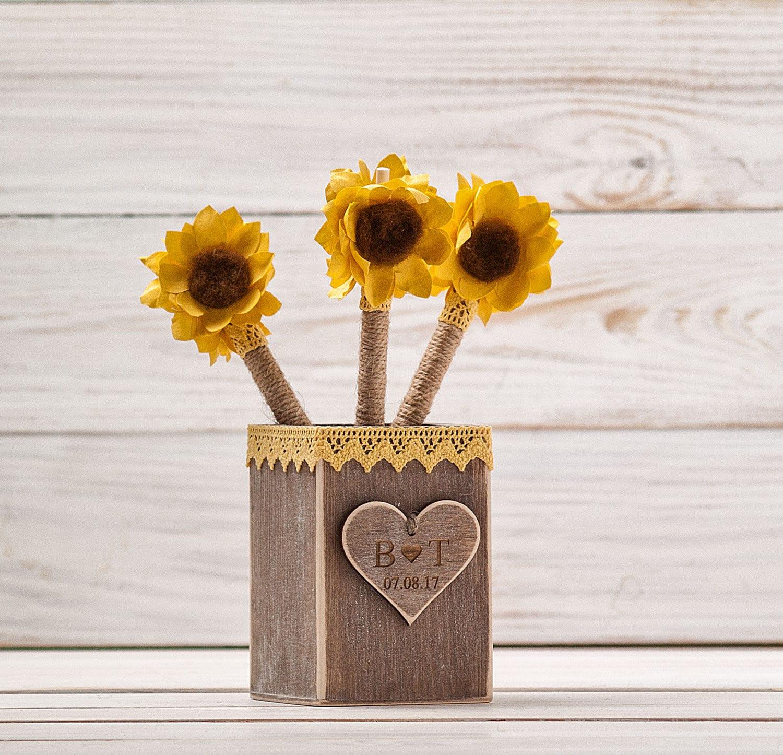 Sonnenblume Gästebuch Hochzeit Stift Halter Sonnenblume   Etsy