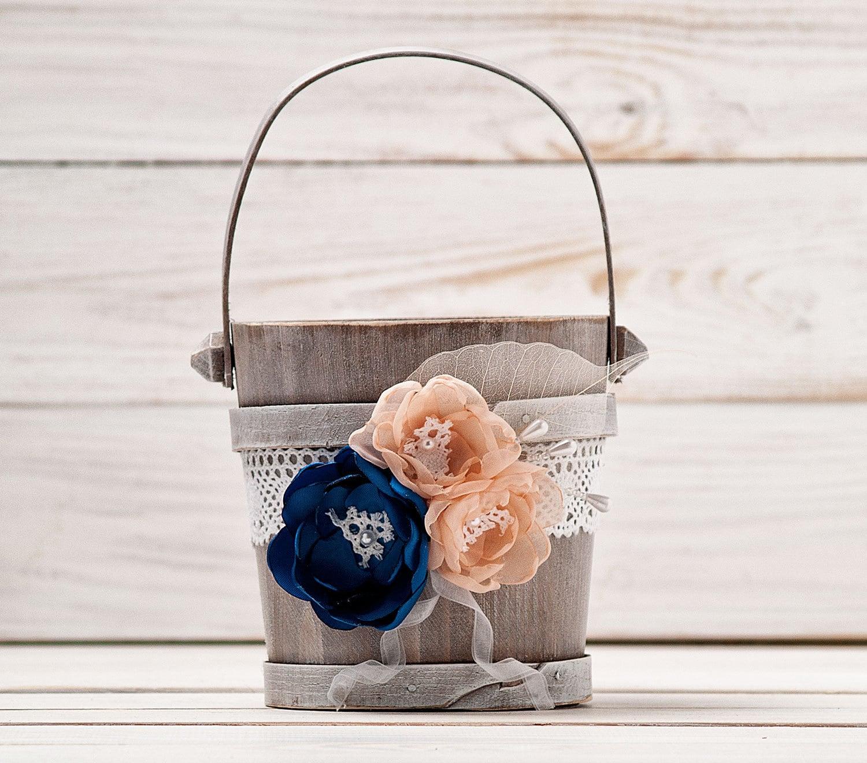 Navy Blue Blush Flower Girl Basket Wedding Basket Wood Flower Etsy